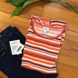NWT Orange Yellow Stripe Lularoe Gigi Tee Shirt XL